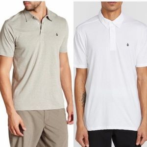 NWT Volcom Banger Polo Bundle White Gray S